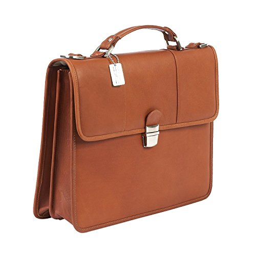 (Claire Chase Tuscan Leather Laptop Briefcase, Computer Bag in Saddle )