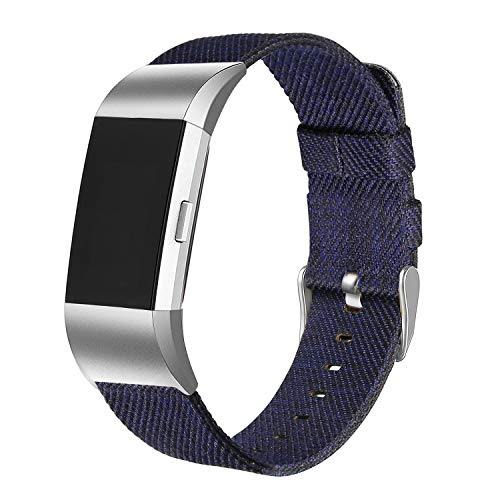 bayite Canvas Bands Compatible Fitbit Charge 2, Soft Classic Replacement Wristband Straps Women Men, Navy Blue - Band Canvas