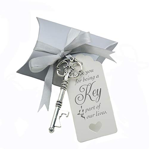 50pcs Wedding Favor Souvenir Gift Set Pillow Candy Box Vintage Skeleton Key Bottle Openers Escort Gift Card Thank You Tag French Ribbon (Antique Silver)