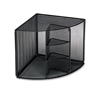 Rolodex 62630 Mesh Corner Desktop Shelf Five Sections 20 x 14 x 13 Black