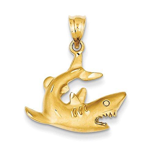 Pendants Beach and Sea Life Charms 14K Yellow Gold Shark Charm ()
