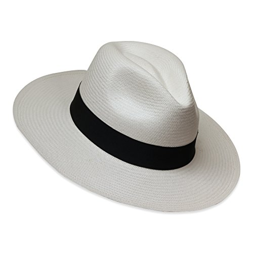 Tumia - Fedora Panama Hat - White with Black Band - Non-Rollable Version. 55cm. ()