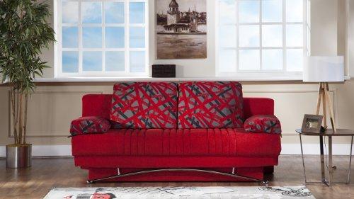 Fantasy Modern Sofa Sleeper in Story Red