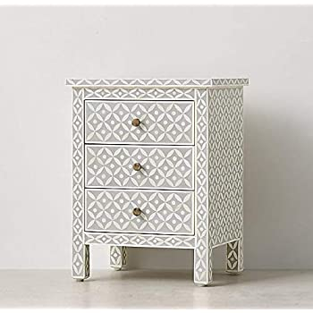 Celtic Eye Design Bone Inlay Handmade Night Stand Side Table in Grey