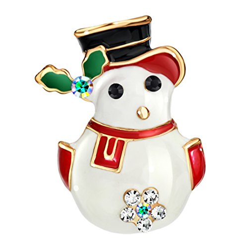 Neoglory Jewelry Champagne Gold Plated Aurora Borealis Rhinestone Mr. Snowman Christmas Enamel Brooch Pins