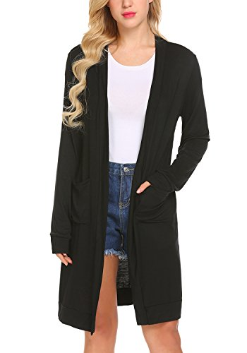 Locryz Women Long Sleeve Open Front Loose Casual Lightweight Cardigan with Pocket