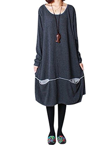 Youlee Mujer cuello redondo Dos bolsillos delanteros Vestido de suéter Gris profundo