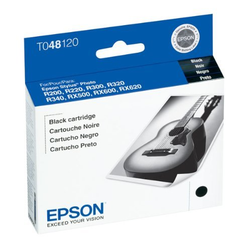 Epson T048120 OEM Ink - (48) Stylus Photo R200 R220 R300 R300M R320 R340 RX500 RX600 RX620 Black Ink 630 Yield