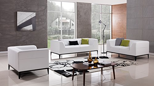 - American Eagle Furniture Modern Minimal 3 Piece Living Room Leather Sofa Set, White