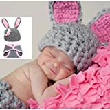 Kuhu Creations New Born Baby and Infant Very Cute Prop Handmade Photography Prop with Crochet Knit. (Grey Rabbit Style)
