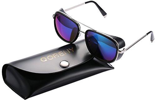 32b21bf55ce Unisex Cover Side Shield Square Sunglasses Fashion Eyewear for Women Men  (gold frame green color lens