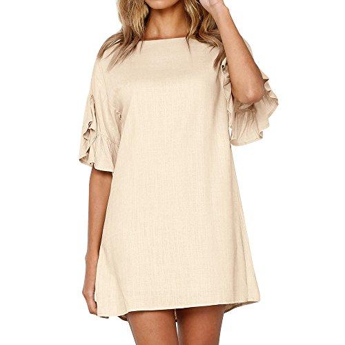 (♥ HebeTop ♥ Women Mini Dress, Summer Casual Tunic Dress Plain Horn Sleeve Holiday Party Shift Dress Khaki)