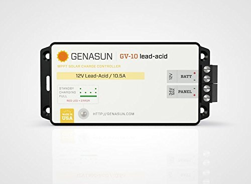 Genasun GV-10-Pb-12V, 10 Amps 12 Volts 140 Watts MPPT Solar Charge Controller for Lead Acid