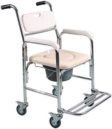 Toilette con ruote, con sedile e cuscino per sedile e