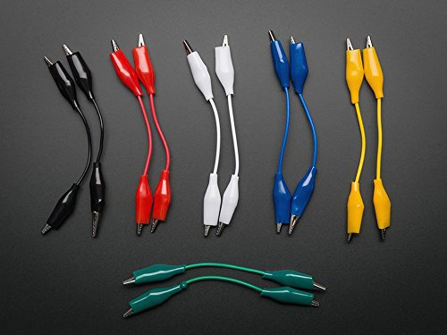 Adafruit Short Wire Alligator Clip Test Lead (Set of 12) 100625