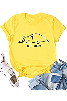 Women's Not Today Crazy Cat T Shirts Graphic Cute Funny Short Sleeve Cotton Tops