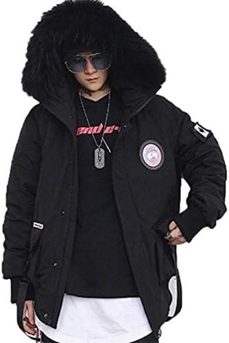] 香港スタイルの冬の短いセクション、ラビングスリムフードアライグマの毛皮の襟のハンサムな迷彩綿のコート