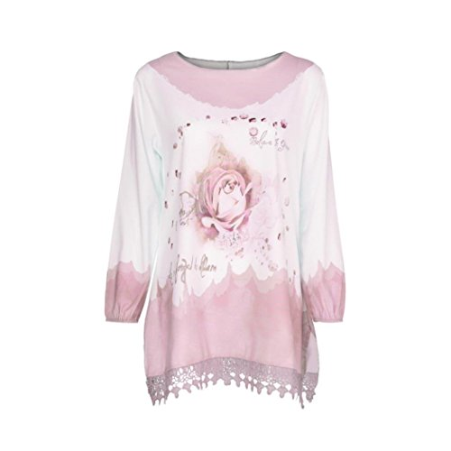 Clearance Women Tops COPPEN Women Plus Size Lace Print Long Sleeve Fashion Blouse Pullover Tops Shirt