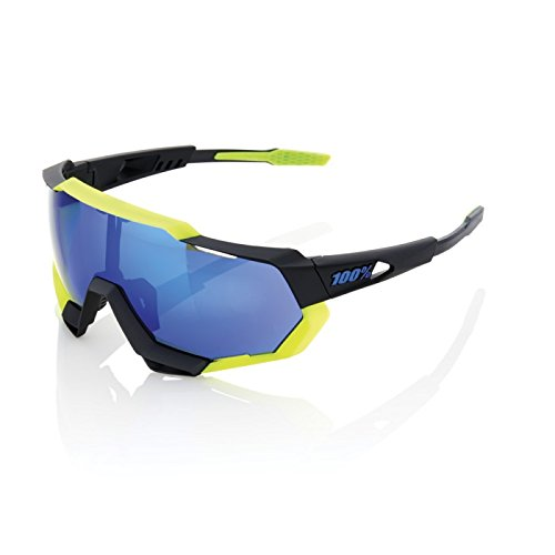 100% Unisex-Adult Speedlab (61023-014-42) Speedtrap-Soft Tact Black/Neon Yellow-Electric Blue Mirror Lens, Free Size)
