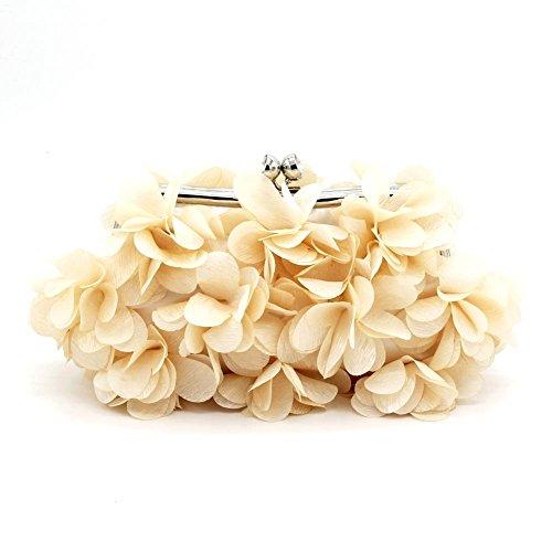 Kingluck Flower Design Satin and Silk Women Wedding Brial Clutch Bag/evening Handbags(more Colors) (champange)