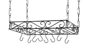 Concept Housewares PR-40530 Scrolled Iron Pot Rack, Black