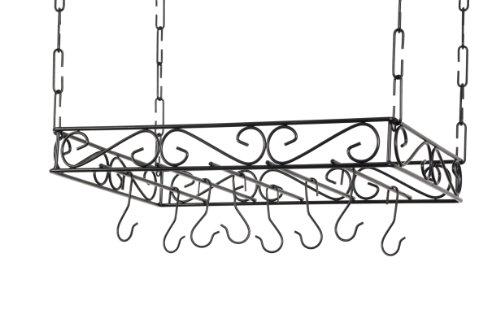 Concept Housewares PR-40530 Scrolled Iron Pot Rack, Black - Concept Housewares Pot Rack