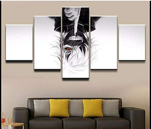 Hnyyj 5パネルアニメーション東京喰種トーキョーグールKen Kaneki絵画Hdキャンバスウォールアート装飾リビングルームの壁紙30x50cmx2 30x70cmx2 30x80cmx1