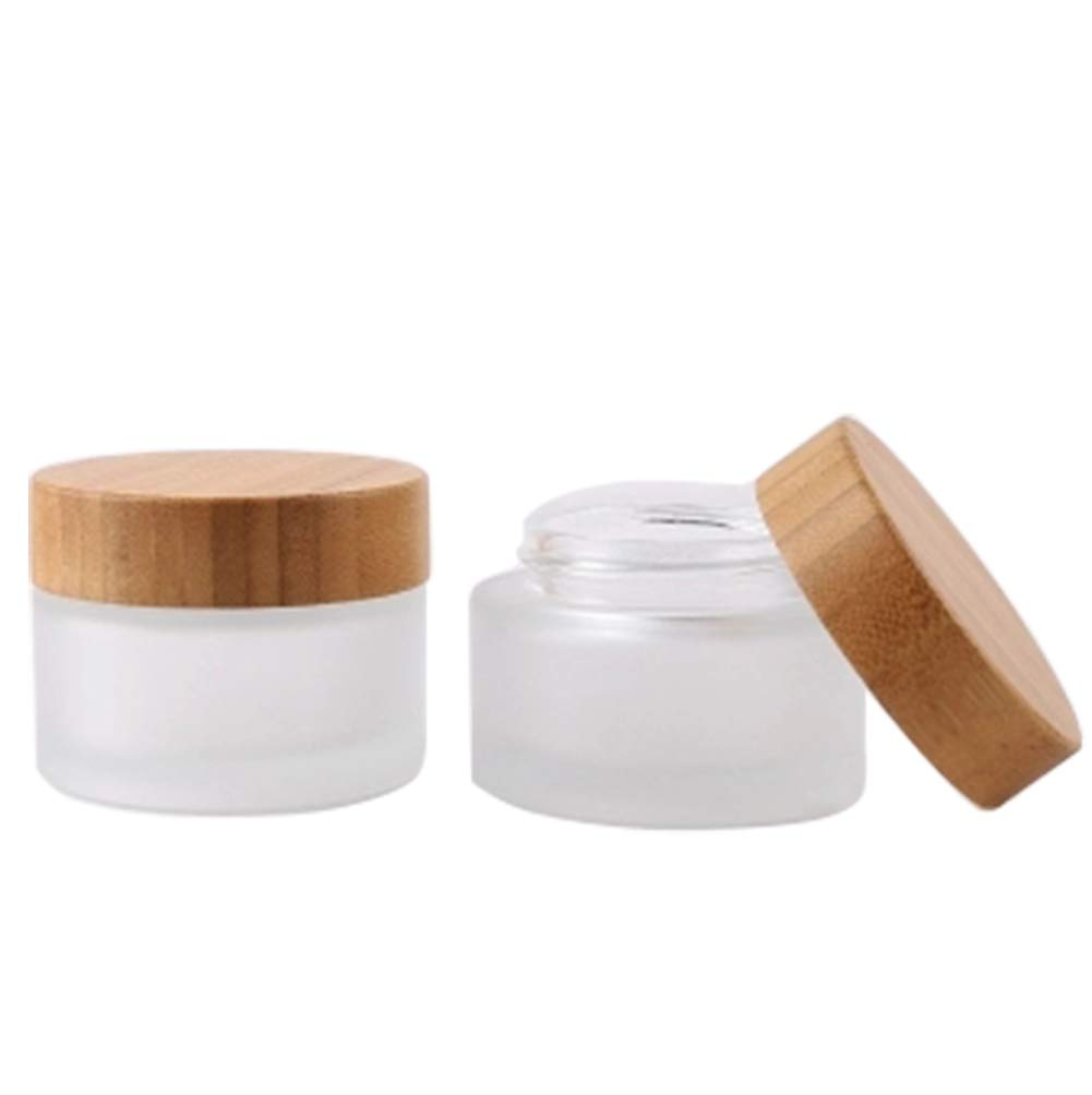 2 Pack 50ml/1.7oz Frosted Glass Cosmetic Cream Jar Bottle Refillable Glass Face Cream Pot Cosmetics Container With Bamboo lids and Inner Liners For Travel DIY Sample Eyeshadow Essential Oils