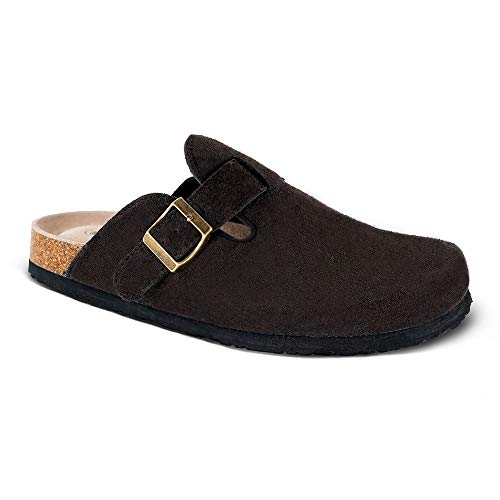 - Unisex Boston Soft Footbed Clog,Suede Leather Clogs, Cork Clogs Shoes for Women Men,Antislip Sole Slippers Mules Brown
