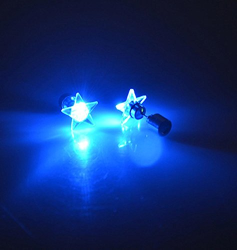 Iuhan Star Shape Sparkling Dance Party Accessories Earrings Light Up LED Bling Hook Ear Studs (Blue)