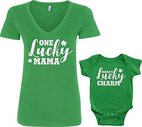 Lucky Mama & Lucky Charm Infant Bodysuit & Women's V-Neck T-Shirt St Patrick's Matching Set (Baby: 24M, Kelly Green|V-Neck: L, Kelly Green)
