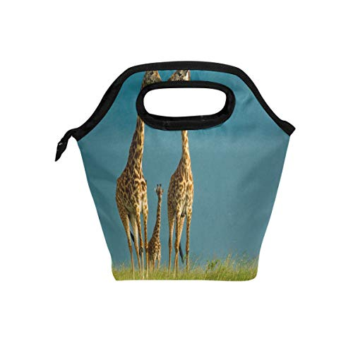 - Reusable lunch tote bag Custom Giraffe Family Insulated handbag cooler Lunchbox bags with Zipper for work/school/picnic