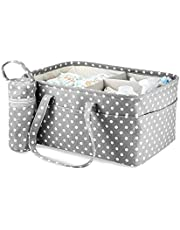 Baby Diaper Caddy 3 Compartment | Insulated Bottle Carrier | Nappy Changing Tote & Nursery Bag | Newborn Gifts | Detachable Divider | M&W