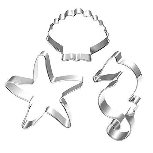 WOTOY Ocean Theme 3 Pieces Set Biscuit Cookie Cutter - Stianless Steel