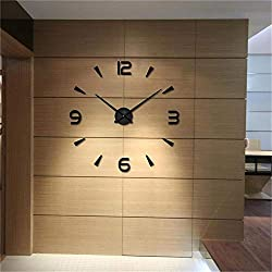 CreationStore Wall Decor Frameless Clock 3D DIY Mirror Surface Wall Sticker Clocks Large Size Wall Decorative Clock for Living Room Bedroom Office Hotel (Black)