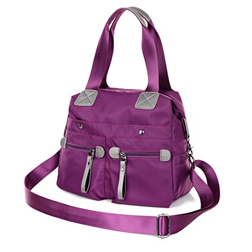 Capacity Bag - DOURR Women's Messenger Bag Tote Bag Shoulder Bag Oxford Nylon Waterproof Crossbody Bags (Purple)