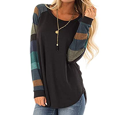 Blouses for Womens, FORUU Fashion Stripe Casual Top T Shirt Loose Long Sleeve Top
