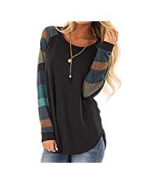WOCACHI Final Clear Out Womens Blouses Long Sleeve Striped Patchwork Shirt Crew Neck Loose Tops Solid Color Autumn Bottoming Shirts (Green, Large)