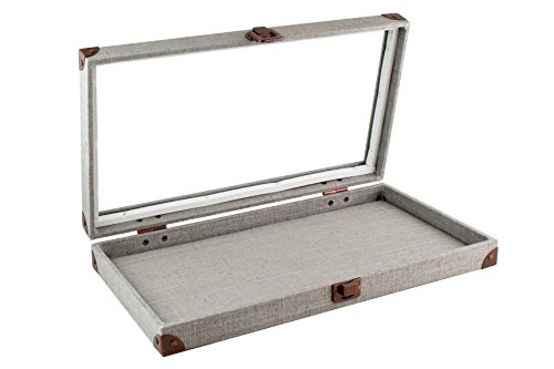 Caddy Bay Collection Grey Canvas Jewelry Ring Display Case with Glass Top Includes 2 Free Inserts-- 1x 72 Slot Foam Pad, 1x Thick Linen Liner (Belly Button Ring Display compare prices)