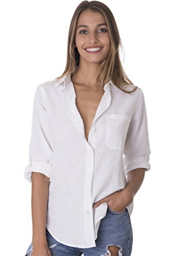 CAMIXA Women's Washed Casual Linen Button-down Shirt Look Cool L White Tailored Ladies Shirt