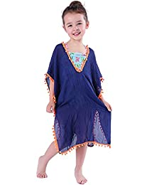 MissShorthair Fashion Girls' Cover-ups Swimsuit Wraps Beach Dress Top with Pompom Tassel