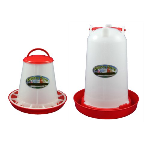 3 Litre Economy Drinker and 1kg Economy Feeder Red and White Set Country Fayre (UK) Ltd