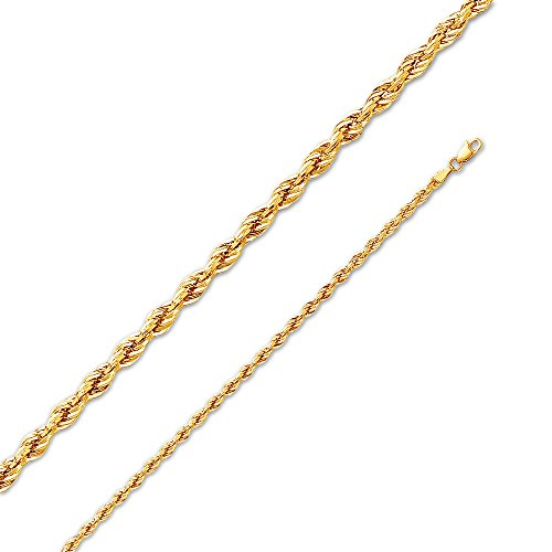 (Sonia Jewels 14k Yellow Gold 3mm Diamond-Cut Hollow Rope Chain Necklace with Secure Lobster Claw Clasp 18
