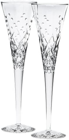Waterford Happy Celebrations Soldering Crystal Flute Glasses Set of 2 cheap