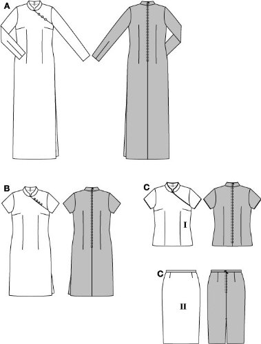 burda Schnittmuster 8438 Kleid & Bluse im China-Look: Amazon.de ...