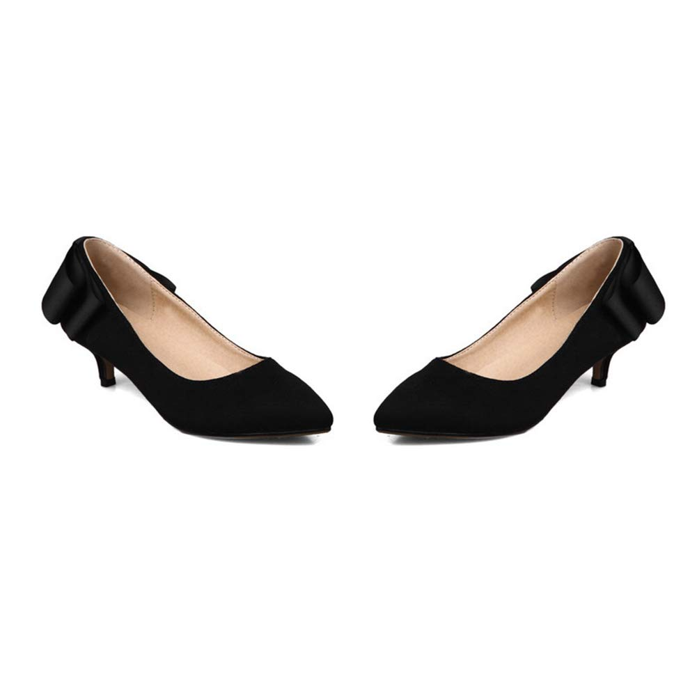 Btrada Women's Fashion Bowknot Pointy Dress Toe Pumps Shallow Mouth Dress Pointy Shoes Wedding Party Low Heel Stiletto B07G9W8NTH 9 M US|Black 8989ad