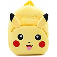 DZert Soft Plush Fabric Multicolour Pikachu Printed School Bag for Baby Boys and Girls