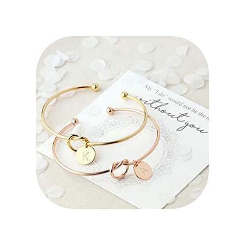 tthappy76 Women Men Lovers Bracelet Hot Rose Gold/Silver Alloy Letter Charm Bracelet Female Personality Jewelry,Rose Gold,S
