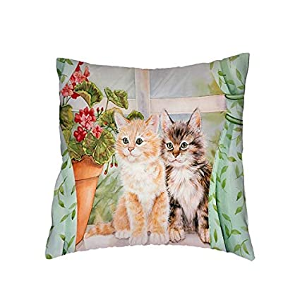 Amazon.com: Fairy Tale Cat Pillow Cover Balloon Butterfly ...