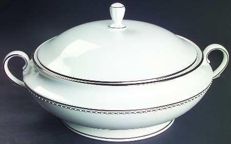- Lenox Pearl Platinum Round Covered Vegetable, Fine China Dinnerware